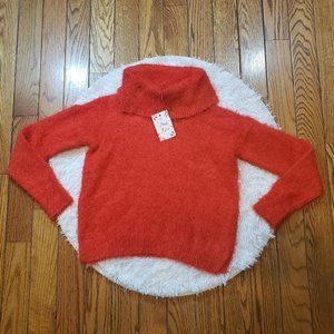 NWT Pink Rose Women's Red Fuzzy Cowl Neck Sweater